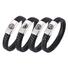 Punk Bracelets for Men Black Leather Braided Bracelet charm Stainless Steel Magnetic Clasps Handmade Male Wrist Band Gifts fashionable simple pu leather titanium steel braided wrist bracelet for men black silver