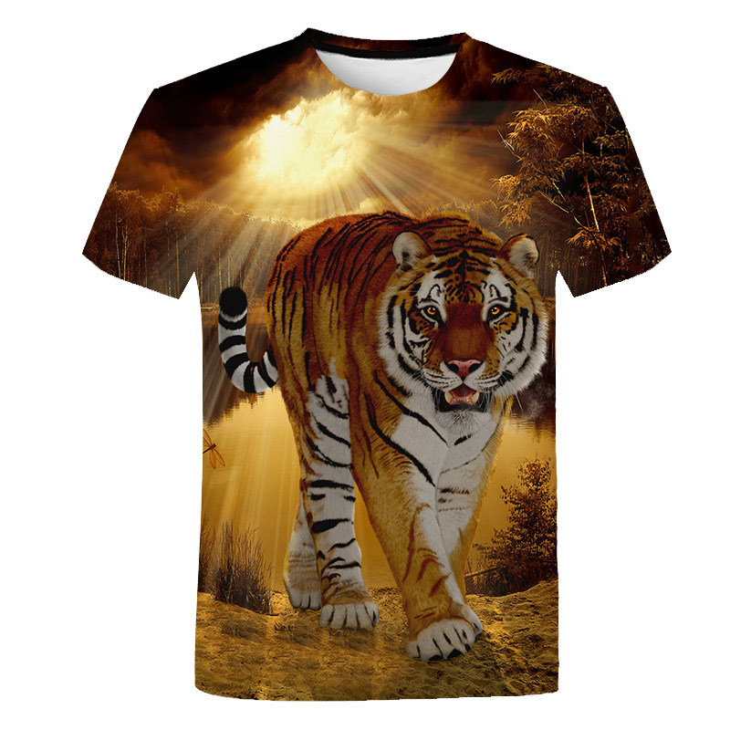 2018 New Mens Summer Tiger Print Men Short Sleeve T-shirt 3D T Shirt Casual Breathable T-shirt Plus-size T-shirt Casual Tops