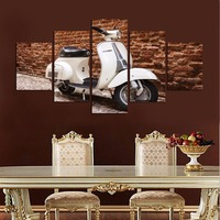 5 pcs Still life canvas painting draws white electric motorcycle household adornment background wall art poster unframed FA205