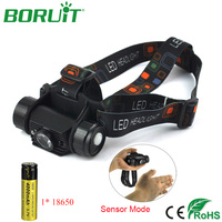 Lm 3 W Mini Reflektor z Czujnikiem PODCZERWIENI BORUiT USB Latarka ładowalna Latarka Latarka Czołówka Polowania przez 18650 Baterii