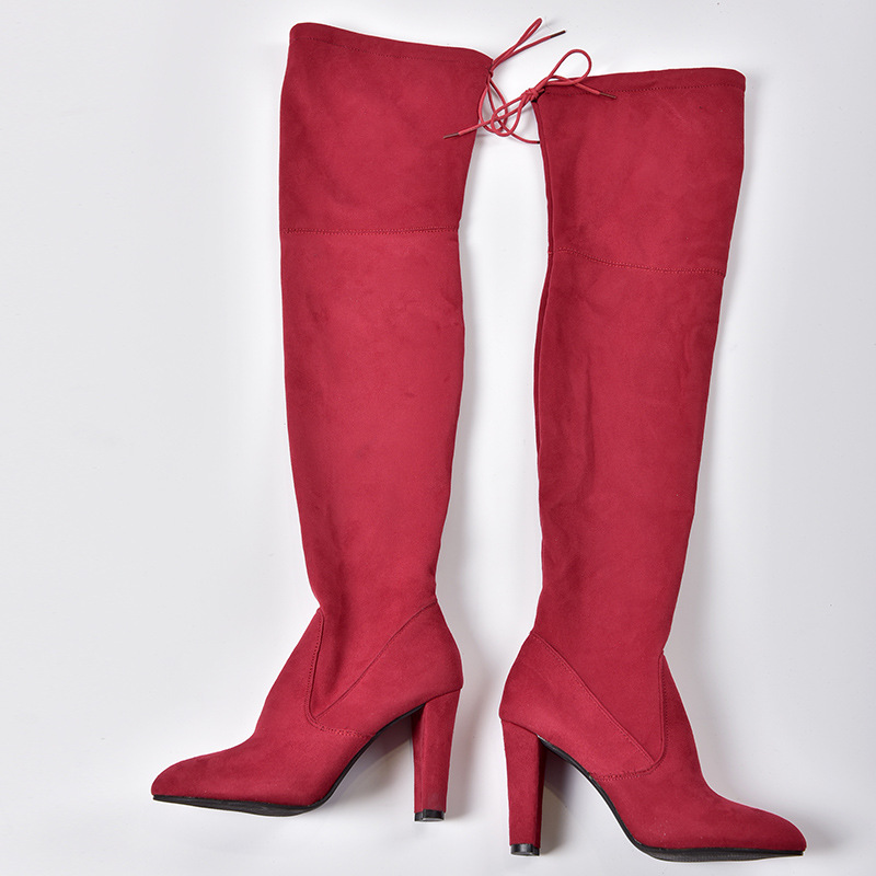 Women's Flock Leather Over The Knee Boots Size 34-43 13