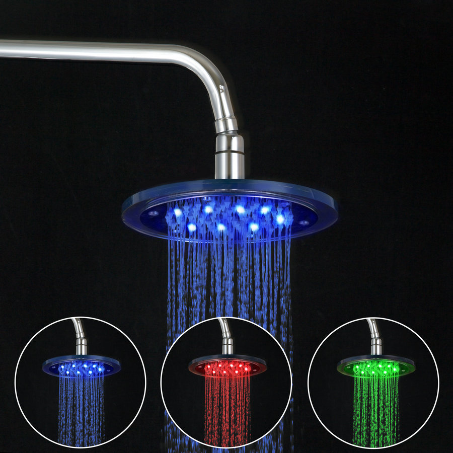 HELLO New Style Bath Shower Faucet LED Rainfall Shower Tub Shower Mixer Tap Chrome Polis ...