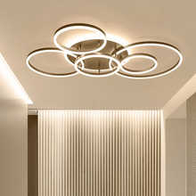 Remote Controller 2/3/5/6 Circle Rings Modern led Chandelier For living Room Bedroom Study Room White/Brown Color Chandelier - DISCOUNT ITEM  40% OFF All Category