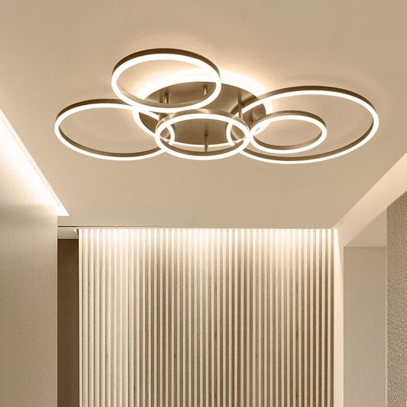 Télécommande 2/3/5/6 anneaux de cercle lustre led moderne pour salon chambre salle d'étude blanc/marron couleur lustre