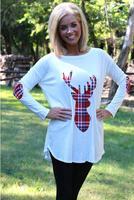 Winter New Women Tops Patchwork Lace Top Blusas Christmas Elk Printing Long Sleeve T Shirt Women