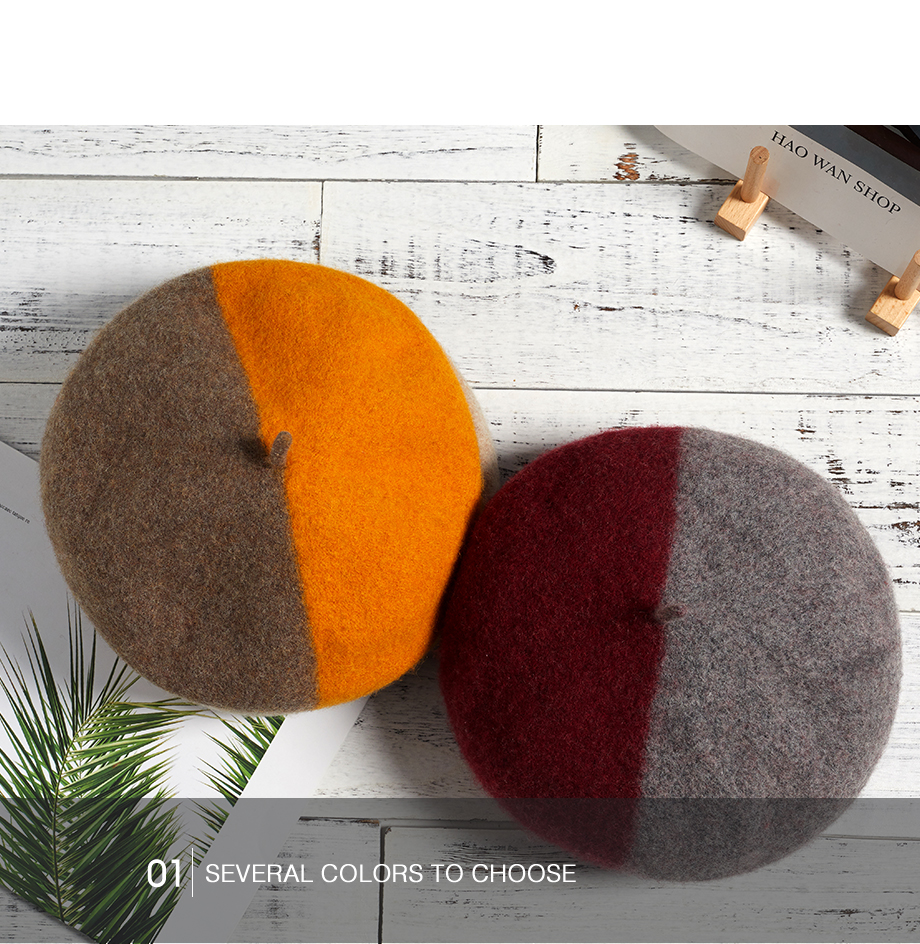 Wool Beret Female Winter Hats For Women 2018 Flat Cap Knit 100% Cashmere Hats Lady Two-Tone Girl Berets Hat Female Painter Hat (15)
