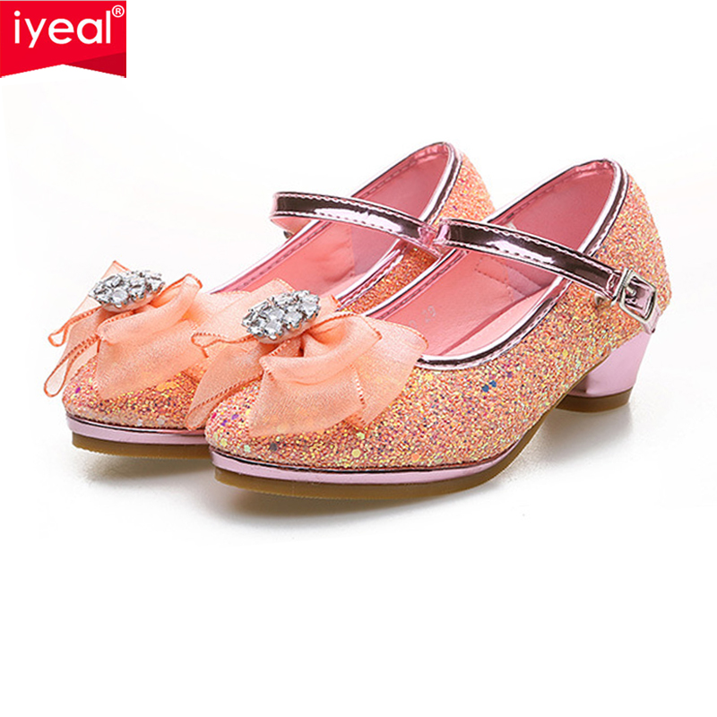 d4a94a4357a7 IYEAL Girls Party Leather Shoes With Bow Princess Girl Glitter Sequins High  Heel Shoes For Kids. sku: 32957936354