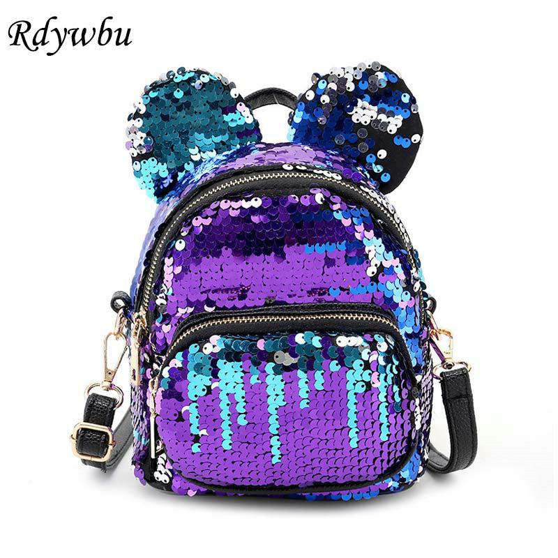Rdywbu Glitter Sequins Ear Shape Backpack Women Casual Mini Bling Travel Rucksack Girl Children Cute PU School Bag Mochilas B304 2017 new women girl children all match bag pu leather sequins backpack girls small travel princess bling backpacks
