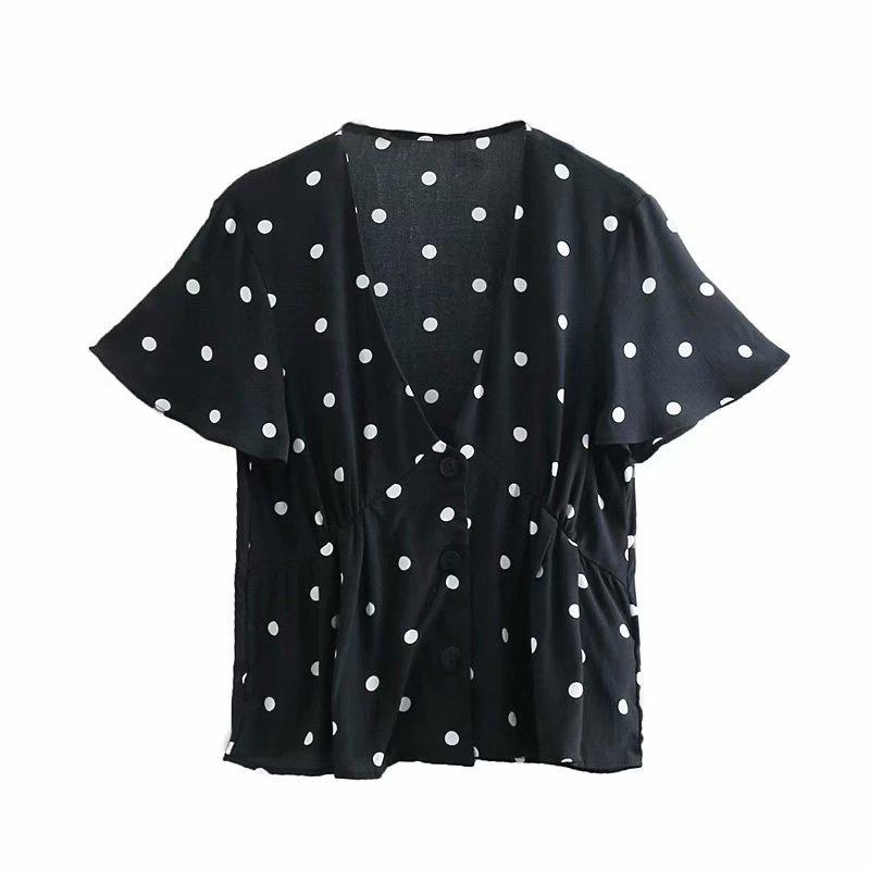 Qujing 35-8059 European and American Fashion Point Printed V-collar Baitie Shirt