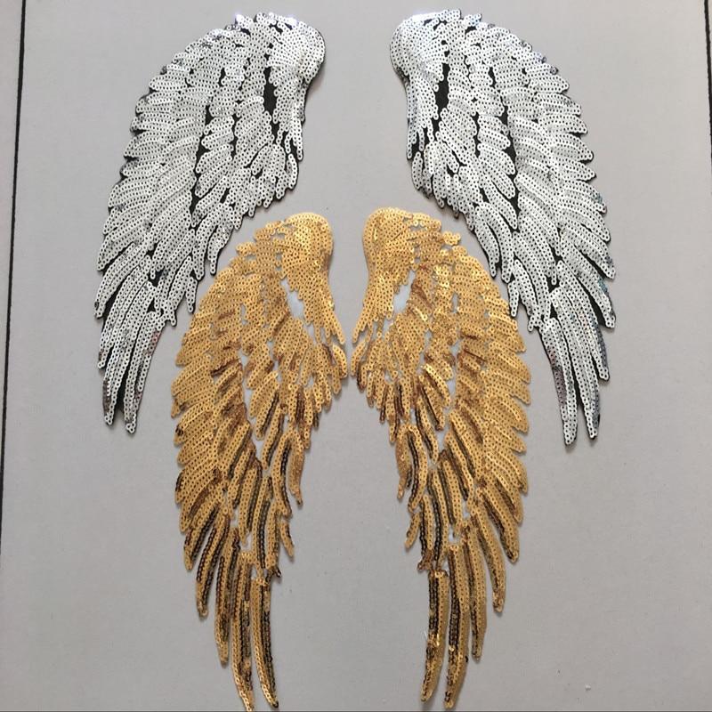 3 Par de Alas de Ángel Pluma de Lentejuelas Tela Bordada Gran Parche - Artes, artesanía y costura