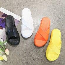 HKCP Slippers female summer word drag fashion 2019 Korean version of high-heeled flat sponge cake bottom slippers women C434