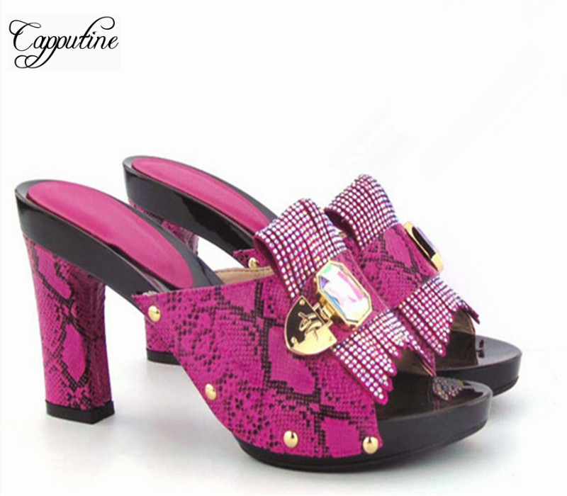 Capputine High Quality Fashion African Metal Decoration Woman Shoes Italian Style High Heels Slipper Shoes For Party 11Colors doershow african shoes and bags fashion italian matching shoes and bag set nigerian high heels for wedding dress puw1 19