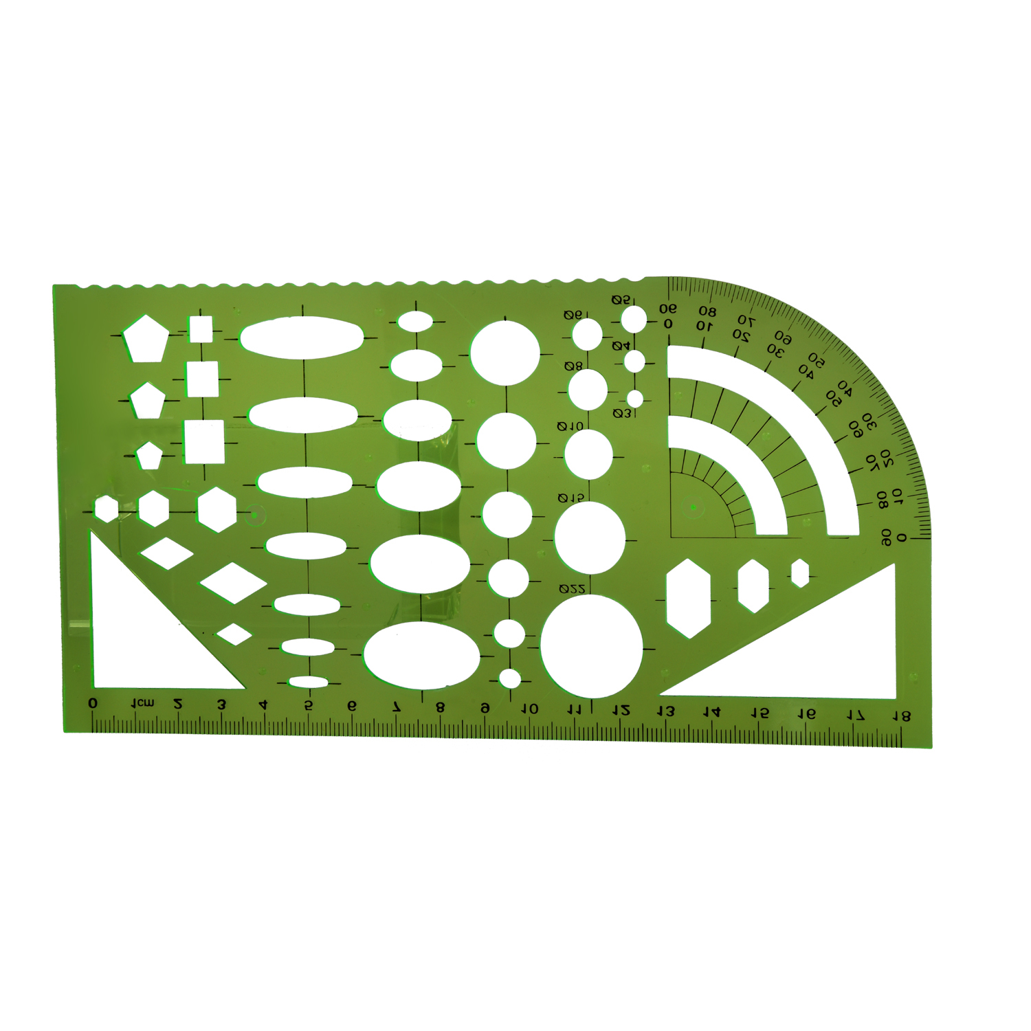 PPYY NEW -Tactics Template Template Ruler Plastic Protractor Student Clear Green