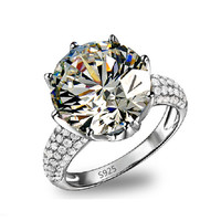 White Gold Plated Round Rings Big CZ Diamond Jewelry Luxury Engagement Wedding Bague For Women Vintage