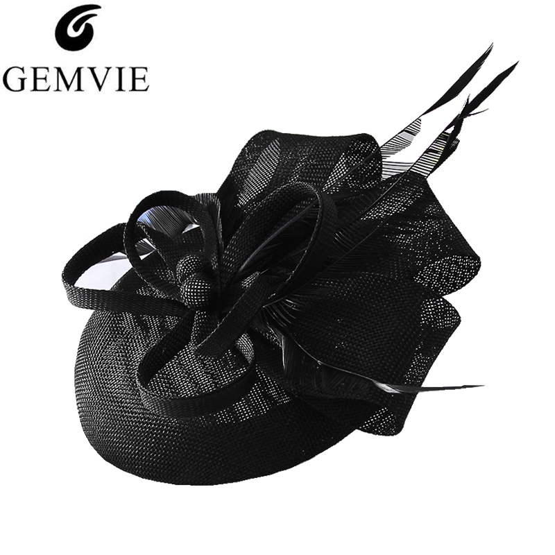 GEMVIE Women Elegant Flower Feather Fascinator Hat Cocktail Cap Lady Wedding Party Church Pillbox Hat Fedora Hair Accessories(China)