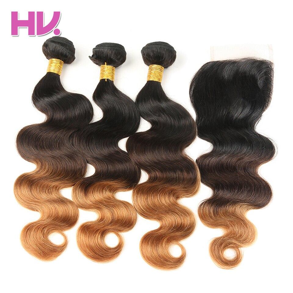 Villa de cabelo Ombre Brasileira Onda Do Corpo Do Cabelo Humano Cabelo 3 Pacotes Com Fechamento Remy Cabelo Weave Bundles com Fechamento 1B /4/30 salão