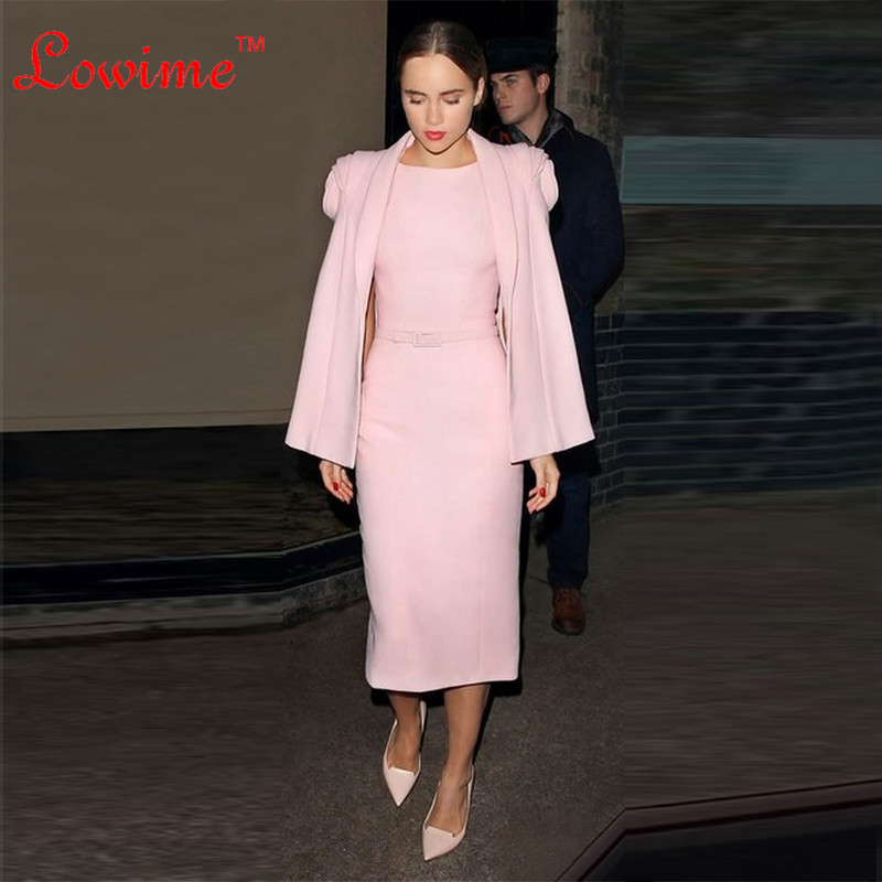 In Two Piece Pink Celebrity Dresses Elegant Buttons Back Straight Evening Party Formal Dress Abiye Lady Cocktail Dress Vestidos
