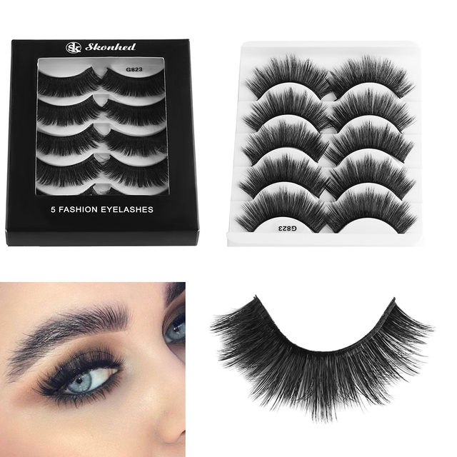 4888cdd99e2 5 Pairs Handmade Natural Thick Long Lashes 3D Mink Hair False Eyelashes  Wispy Fluffy Fake Eye Lashes Extension Women Makeup Tool