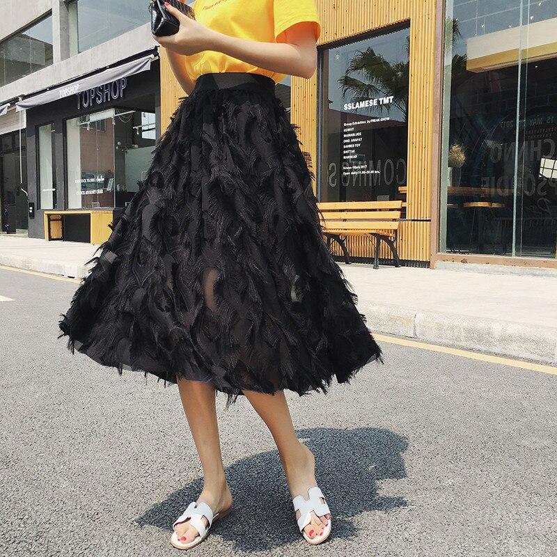 2018 New Spring Summer Bubble Tulle Tassel Skirt Women Tulle Skirts Female Tutu Skirts Pleated Skirt Black White Pink