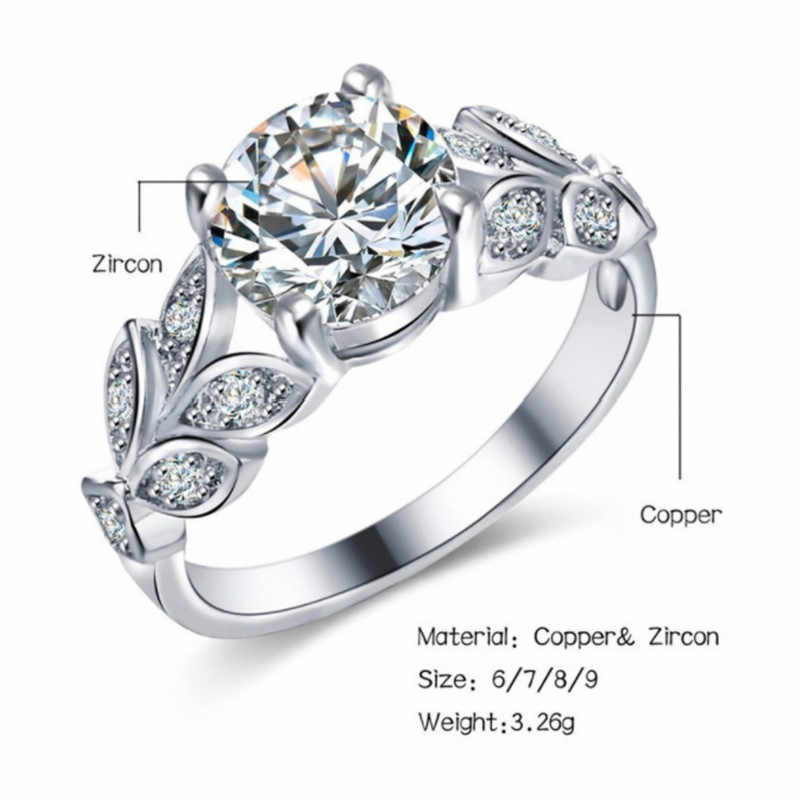 New 2018 Wedding Crystal Silver Color Rings Leaf Engagement Gold Color Cubic Zircon Ring Fashion New Brand Bijoux Women Jewelry