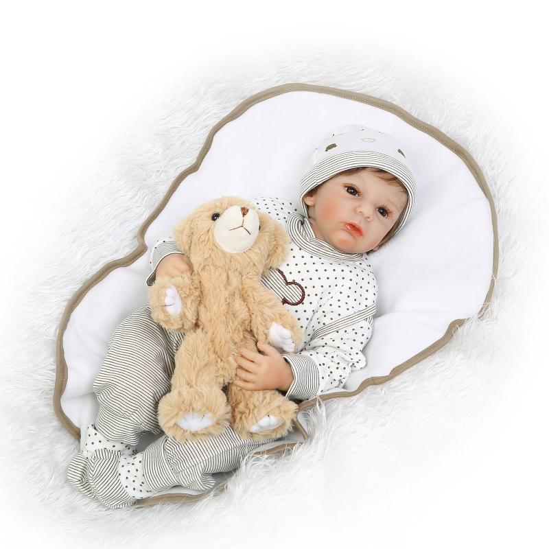 Hotsale 55cm Soft Body Silicone Reborn Baby Dolls Toy Realistic Newborn  Baby Doll With Bear Toy Brinquedos
