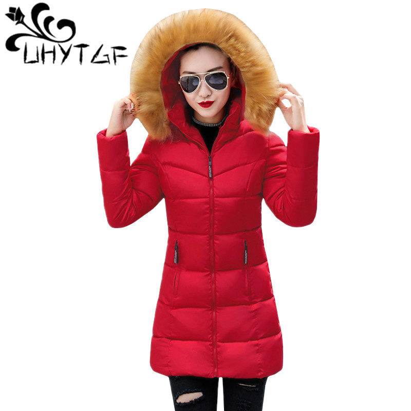 UHYTGF Winter Jacket Women Tops   Parkas   Long Jacket Korean Slim Wild Cotton Coat Clothes Women Warm Large fur collar Hooded Coat