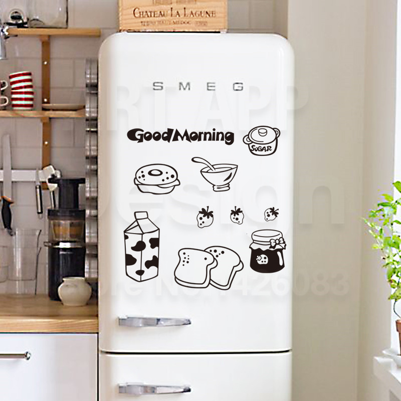 Art new design removable home decor kitchen milk breakfast wall sticker Good Morning vinyl bread cartoon fridge decals
