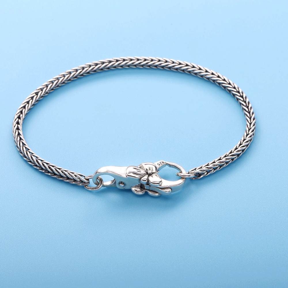 Image 2 - Moonmory Real 925 Sterling Silver Gray Bracelet Vintage Style For Unisex Europe Popular DIY Jewelry Plum Buckle Bracelet-in Chain & Link Bracelets from Jewelry & Accessories
