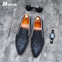 M anxiu 2018 New Fashion Men Shine Crocodile Grain Low Heel Dress Shoes Casual Wedding Formal Flat Breathable Shoes