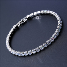 4mm Cubic Zirconia Tennis Bracelet Iced Out Chain Bracelets For Women Men Gold Silver