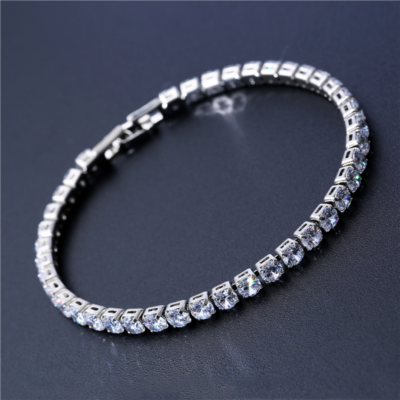 Luxury 4mm Cubic Zirconia Tennis Bracelets Iced Out Chain Crystal Wedding Bracelet For Women Men Gold
