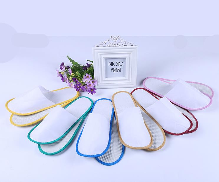 Hotel Travel Spa Disposable Slippers Scuffs Home Guest Slippers White With EVA Sole Closed Toe Free Shipping