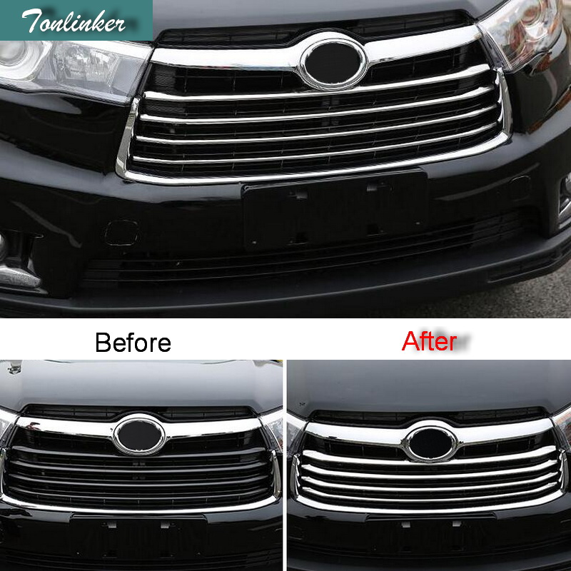 Tonlinker 1-4 PCS Car ABS chrome /Stainless steel racing grills decoration light bar cover Stickers for TOYOTA HIGHLANDER 2015