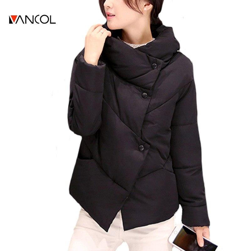ФОТО Vancol 2016 Women's Winter Jacket  2016 Winter Feather Padded Short Slim Park with Hood Turn Down Collar Down Jacket Coat Female