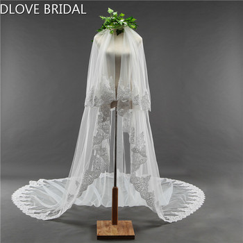 Long Bridal Wedding Veil Two Layer Cathedral Veils with Comb Wedding Hair Accessory