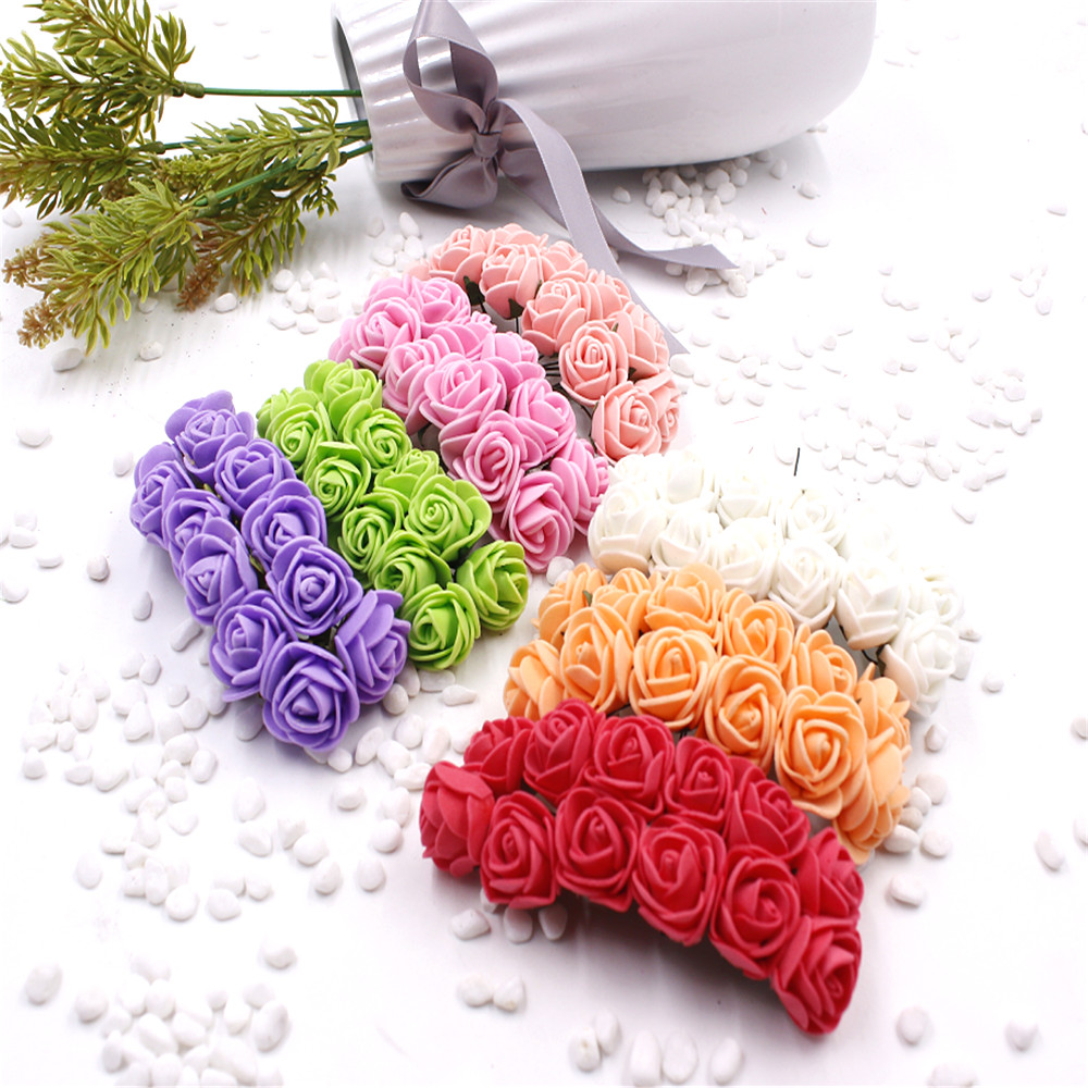 12pcs/lot NEW Foam PE Rose Artificial Flower For Wedding Home Party Decoration Mariage DIY Scrapbook Rosa Garland Craft Flower