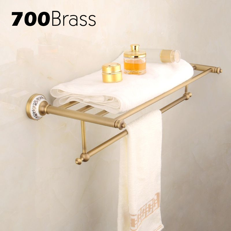 Wholesale And Retail Classical Romantic Bathroom Towel Rack Sturdy Brass Towel Hanger Towel Holder Bathroom toallero цена и фото