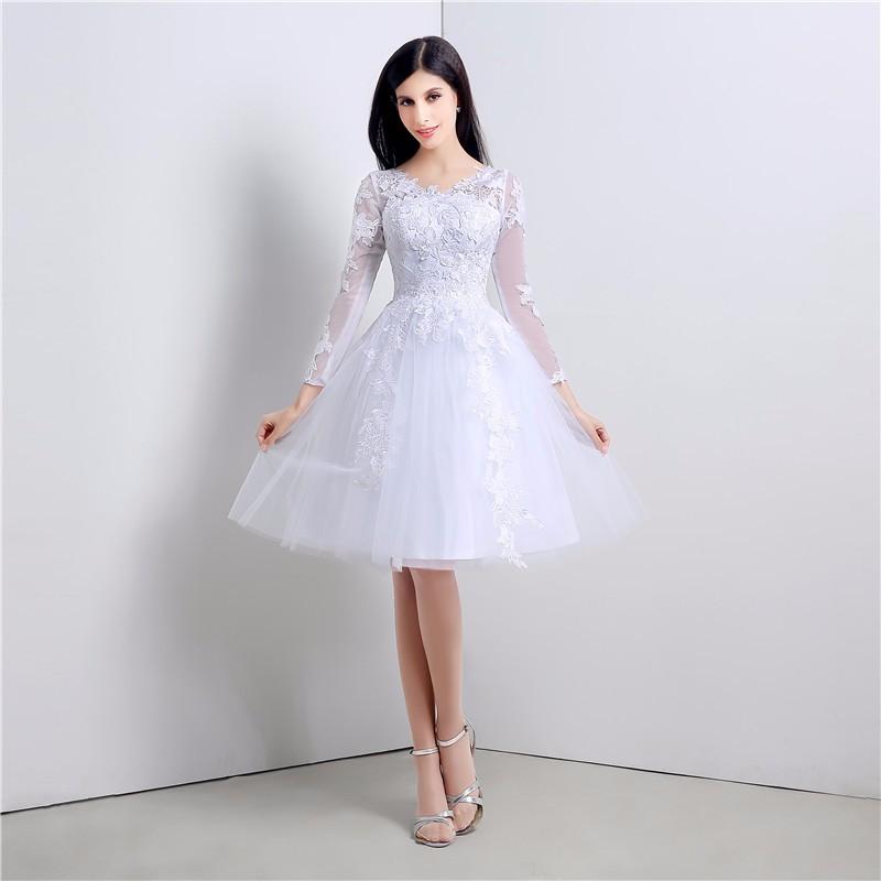 Long Sleeve Short Wedding Dress Applique Knee Length Lace Wedding
