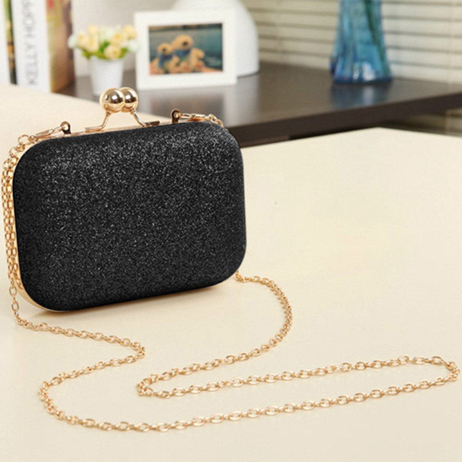 Clutch-Bag Chain Wedding-Ball Evening-Party-Handbag Black Bling Mini Women's with Valentine's-Day