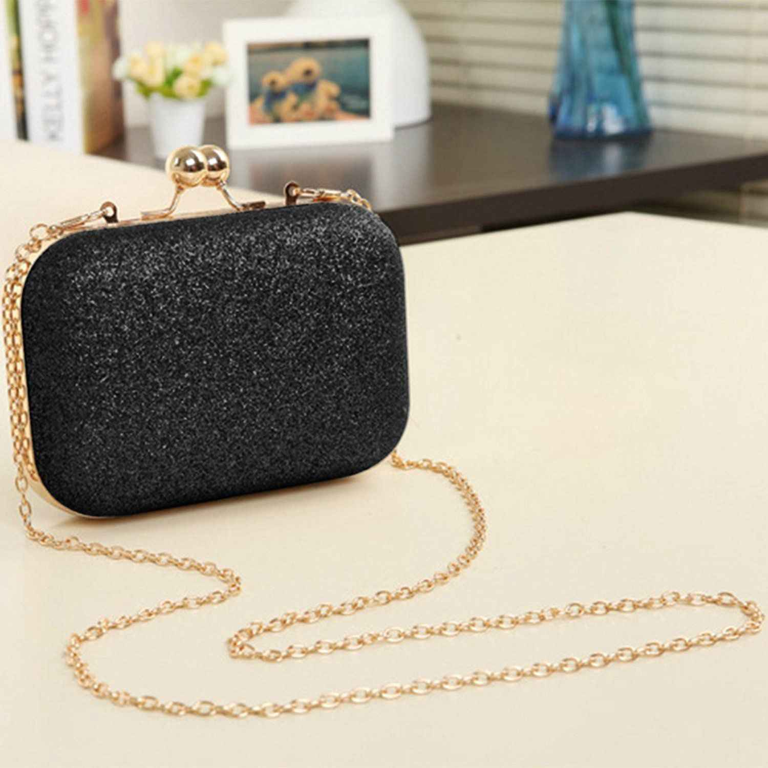COSW Women's bling evening party handbag Wedding ball clutch bag with chain Mini  Birthday gift Valentine's Day Black