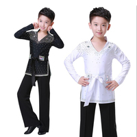 Kids Professional Ballroom Latin Salsa Dance Competition Costumes Shirt Tops Pants for Boys Sequins Dancing Clothes wear Outfits