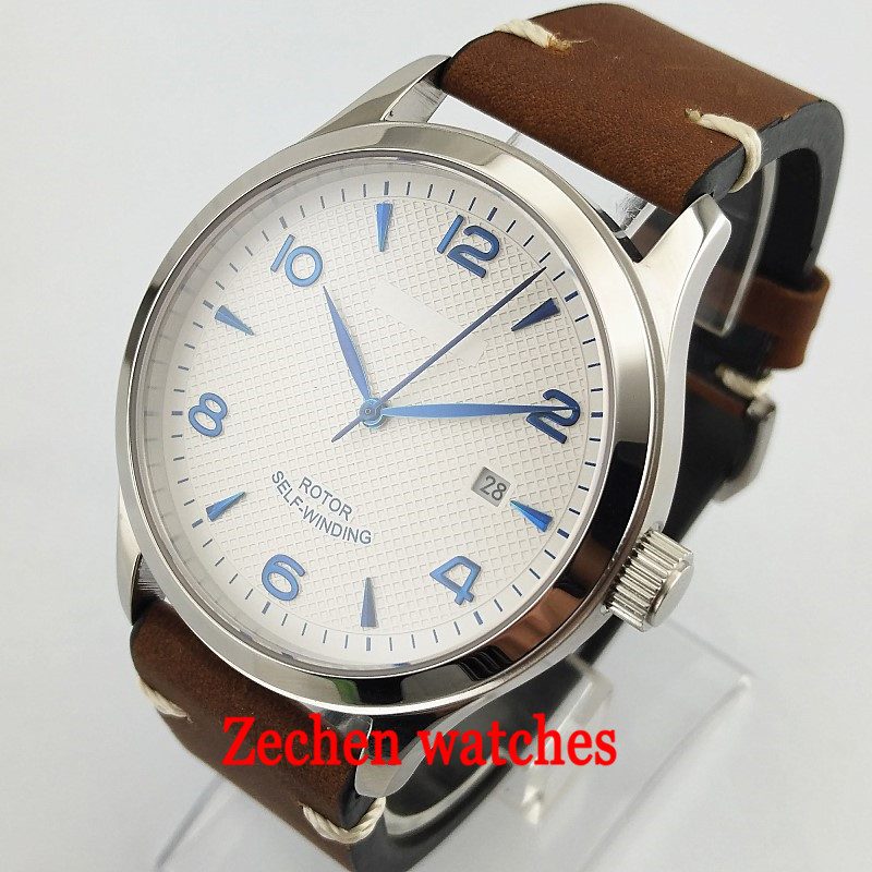 42mm corgeut white dial blue mark Sapphire Glass Brushed silver case miyota 8215 Automatic mens watch 42mm parnis white black dial sapphire glass miyota 8215 automatic mens watch 423
