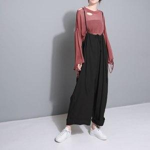 Image 2 - [Eam] 2020 nova primavera cintura alta drawstring solto tamanho grande longo wasy vestindo calças perna larga calças femininas moda jf545