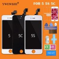 Ywewbjh AAA LCD pantalla para iPhone 5 5C 5S pantalla táctil digitizador vidrio no pixel muerto repuesto negro blanco