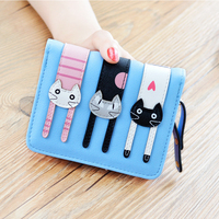 New Arrival Students Wallet Zipper Lady Cartoon Lovely Three Cats Purse Short Style Closure Fashion Money