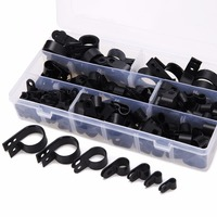 200pcs Black Nylon Plastic P Clips Clamp Fasteners Assorted Box For Wire Cable Conduit Tubing Sleeving