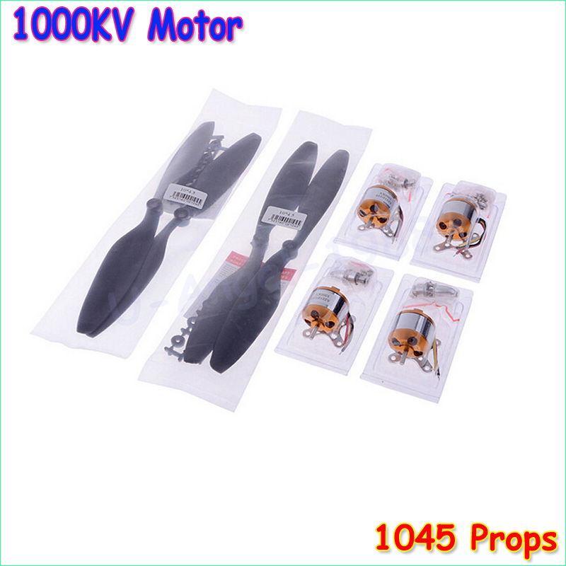 4set A2212 / 13T 1000KV Motor Brushless w + 4 x 1045 10 * 4.5 Propellers (2 bâr) ar gyfer F450 F550 MWC Multicopter