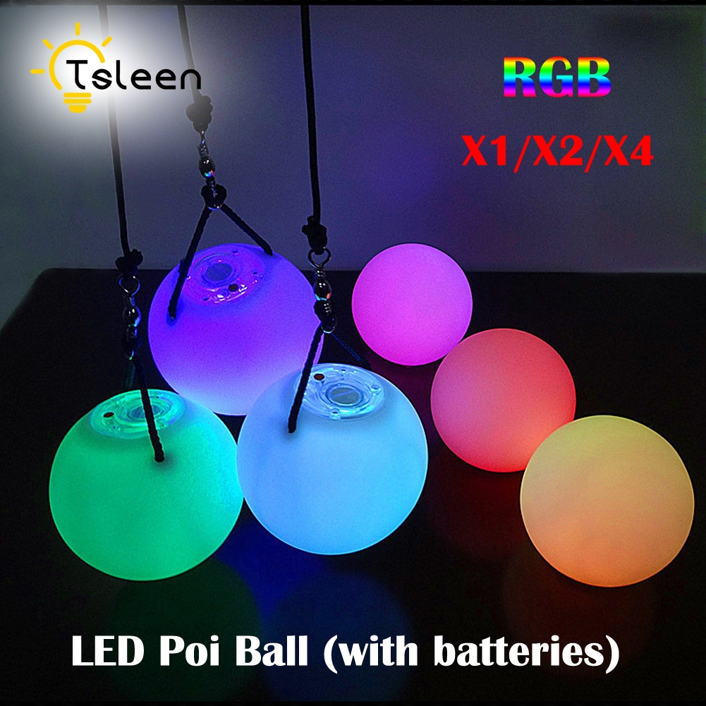 TSLEEN Free Shipping! 1 2 4 PCS LED Poi Balls LED RGB POI Thrown Ball Light Up For Level Hand Prop Stage Performance Accessories