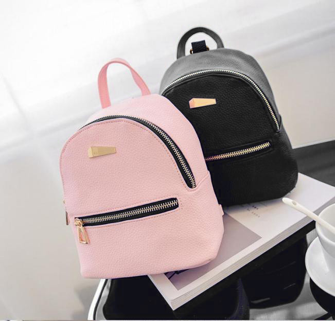Muqgew Hot Fashion Candy Color Women's New Backpack Travel Bag School Rucksack Leather Backpack Striae Shell Type #26