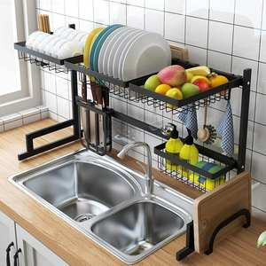 Shelf Dishes-Rack Sink-Drain-Rack Storage-Dish Stainless-Steel Kitchen Multi-Use